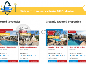 New Section of Select Villas: exclusive video tours 360º showing impressive properties for sale in Costa Blanca North